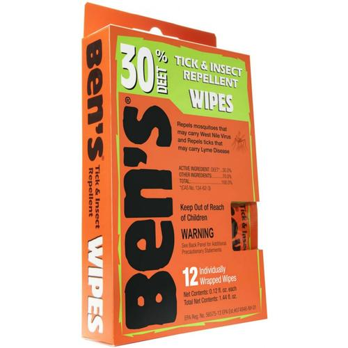 BEN'S 30% TICK & INSECT REPELLENT WIPES 12-PACK