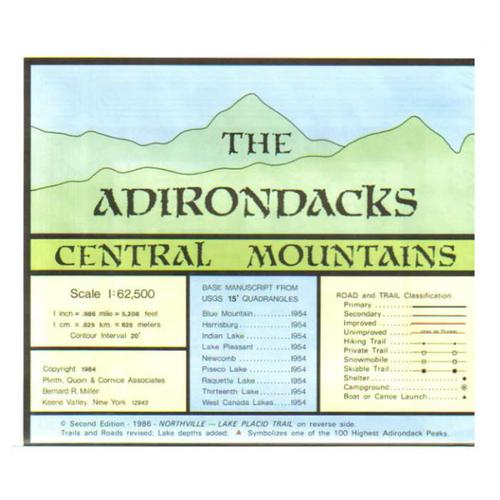 ADIRONDACKS CENTRAL MOUNTAINS MAP