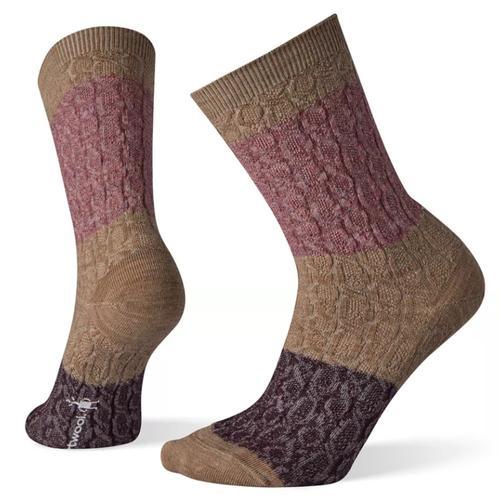 Wms Color Block Cable Crew Socks
